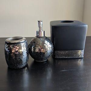 Other - Black Crackle Bathroom Set